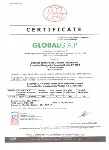 GLOBALG.A.P. CERTIFICATE - recto